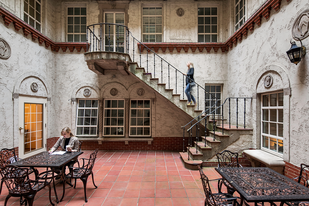 Outside courtyard at the Landing